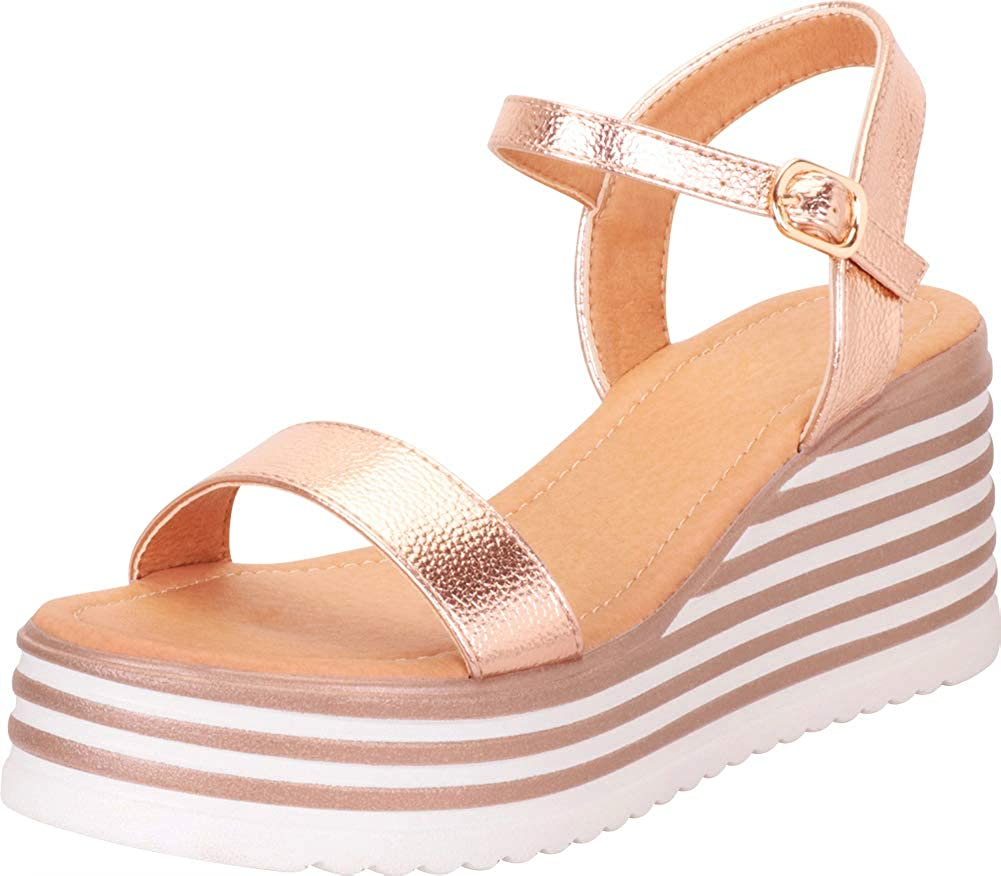 Cambridge Select Women's Open Toe OFFer Platform Chunky Striped Max 76% OFF Mid We