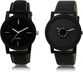 New Raiyaraj Embroidery Analogue Black Dial Black Leather Strap Men's Combo Watch