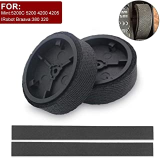Volwco Replacement Mopping Robot Wheels With 2Pcs Wheels And 4Pcs Tire Skin For IRobot Braava 380T 320 321 And Mint 5200C 5200 4200 4205