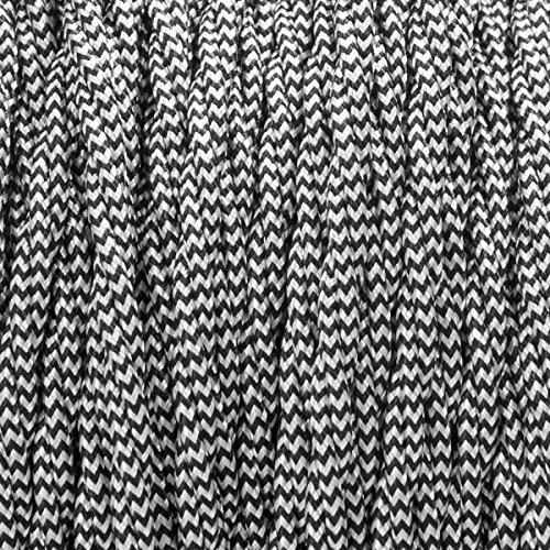 Gevlochten gedraaide flexibele kabel van geweven zijdestof, Edison-vintage stijl, 0,75 mm, 10 m, 2-polig, zwart/bruin/goudkleuren/rood/zwart/wit, in antieke stijl gevlochten kabel voor lampen 1 Unit = 10 Meters zwart/wit