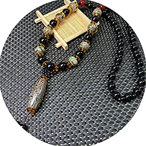 J.Memi's Stein Halskette Herren Achat Wickelarmband mit Dzi Perlen Anhänger, Tibetischer Buddhismus Handarbeit Schmuck Für Yoga Meditation,B