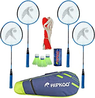 HIPKOO SPORTS Choice Badminton Kit (Set of 4) 3 Shuttles, Net and Quality Carry Bag