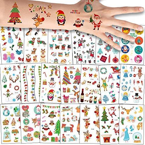 180x Navidad Tatuajes Temporales Niños Niñas, La Misa Del Gallo Tatuaje Falso Pegatinas Dibujos Animados para Infantiles de favor de Nochevieja fiesta Bolsa de regalo