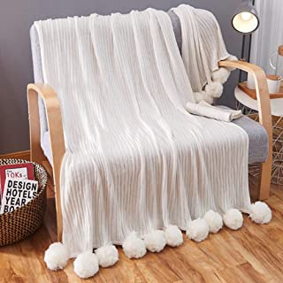 STFLY Pom Pom Knit Throw Blanket 59 x 79 Inches Soft Cotton Throw Blankets with Pompom Fringe Cozy Decorative Knitted Pom Blankets for Bed Sofa Couch Travel (White)