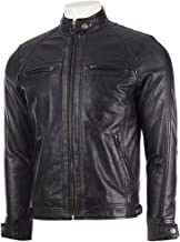 Absolute Leather Men's Savio Black Classic Genuine Lambskin Leather Jacket