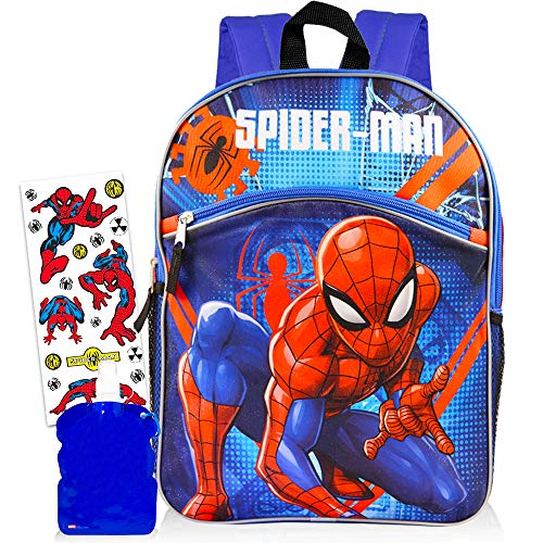 Marvel Spiderman Backpack for Boys (16') with Water Bottle and Stickers
