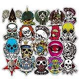 Chileeany Lot de 52 Rétro Vintage Stickers (Skull/Punk) Valise Autocollants pour Valise Voyage Skateboard Guitare