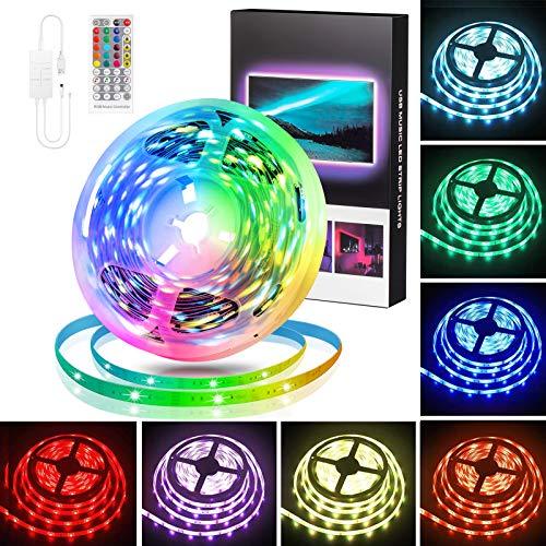 LED Strip 5m, Swonuk RGB LED Streifen mit IR Fernbedienung, TV Hintergrundbeleuchtung , RGB 5050 LED Lichter Sync Musik für Schlafzimmer, Raum, Küche, Party, Decke, Weihnachten Deko
