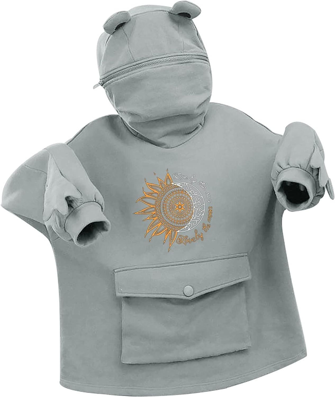 Women's Cartoon Frog Prints Hoodie Long Sleeve Pullover Fleece Pockets Sweatshirt Tops