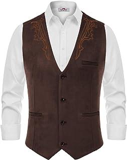 Men's Suede Leather Suit Vest Embroidery Casual Slim Fit Western Vest Waistcoat