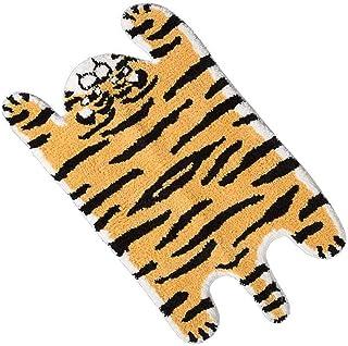 Tiger Print Rug,Soft Faux Animals Non-Slip Bathroom Door Mat Area Rug for Home Decor Bedroom Bathroom Kitchen Floor Suit f...