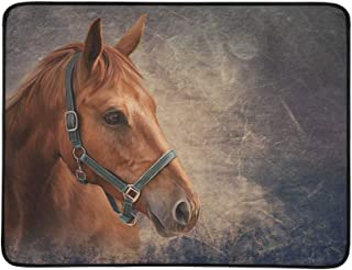 Drawing Red Horse Portrait Oil Painting On Old Vin Pattern Portable and Foldable Blanket Mat 60x78 Inch Handy Mat for Camping Picnic Beach Indoor Outdoor Travel