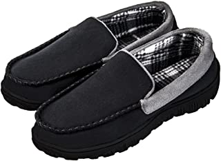 Men's Cozy Memory Foam Moccasin Slippers Microsuede Slip On Slippers Anti-Slip Loafers Shoes Indoor Outdoor