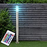 LED Außen Steh Stand Lampe Leuchte EDELSTAHL Garten Beleuchtung Stromverteiler Steckdose DIMMER inkl. FERNBEDIENUNG