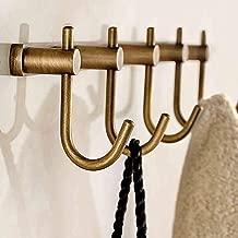 Aiboduo Perchero de pared de lat/ón envejecido con gancho de bronce y 5 ganchos