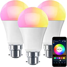 HaoDeng WiFi LED Light, 3Pack Smart Bulb -Timer& Sunrise& Sunset- Dimmable, Multicolor, Warm White (Color Changing Disco B...