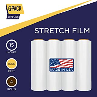 G-Pack Stretch Film Clear 15 in x 1000 Feet Industrial Strength Shrink Wrap, Ideal for Storage, Packaging and Shipping, Pallet Wrap, Plastic Moving Wrap for Furniture, Boxes, 21 Microns, 04 Rolls