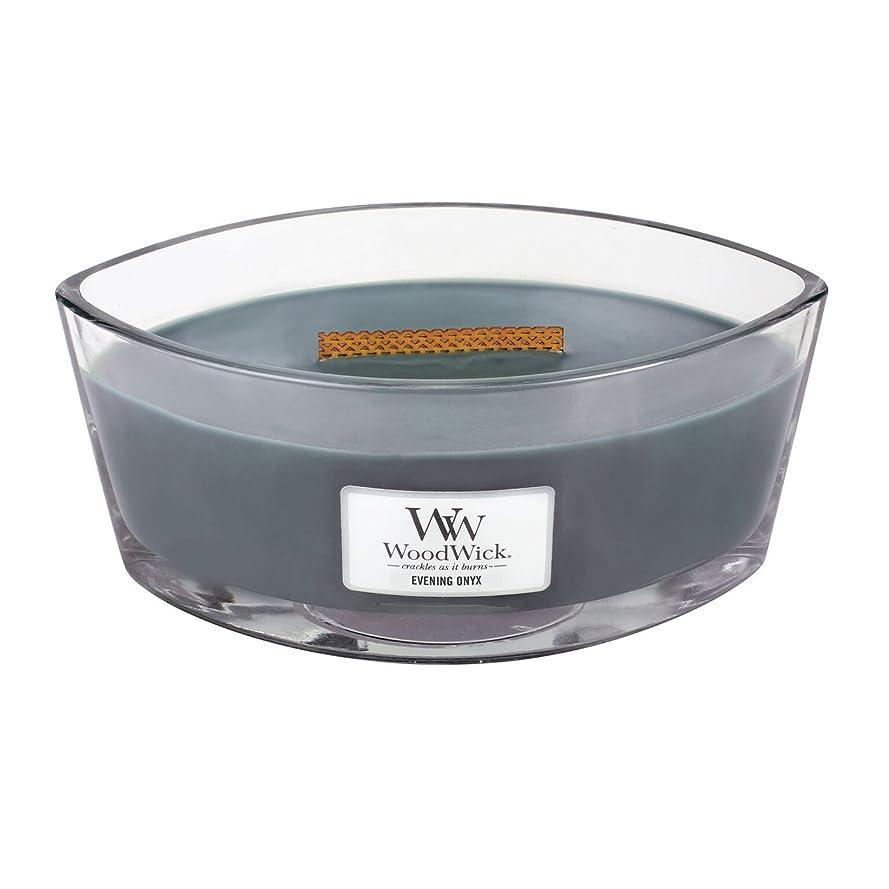 外国人階段するWoodWick EVENING ONYX, Highly Scented Candle, Ellipse Glass Jar with Original HearthWick Flame, Large 18cm, 470ml