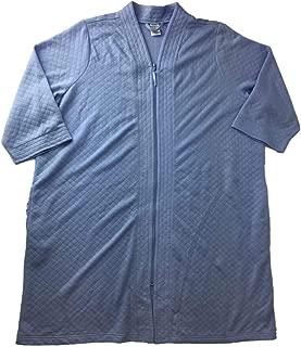 Womens Plush Baby Blue Zip Front Bathrobe Pocketed House Coat Bath Robe
