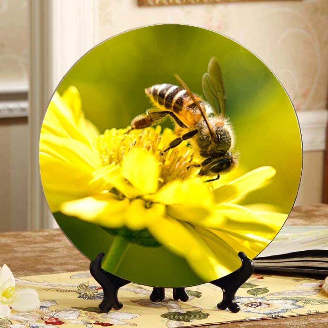 Lajro Free Shipping Finally popular brand New Honey Bee Pollinate Yellow Wall Ceramic Plates Chil Flower