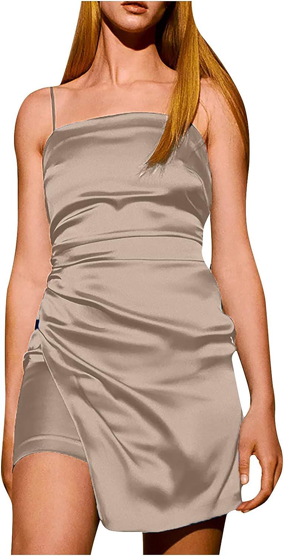 Women's Sexy Halter Backless Dress Spagetti Straps Side Slit Dress Bodycon Mini Club Party Dresses