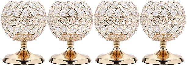 MagiDeal 4pcs Crystal Hollow Votive Tealight Globe Pillar Candle Holders Candlestick Coffee Table Christmas Wedding Decor ...