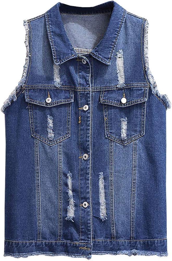 Alilyol Women's Summer Ripped Sleeveless Crop Denim Jacket Vest Button Downs Sleeveless Jacket Plus Size with Fringe