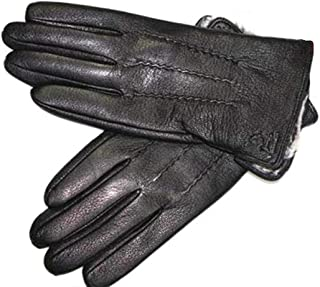 Winter Gloves Men's Leather Gloves Deerskin Thickened Water Wave Style Lining Autumn And Winter Warm Mens Leather Gloves Leather Gloves Winter Gloves