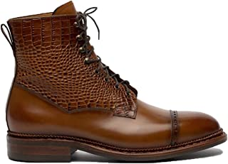 Costoso Italiano Brown Alligator Textured Leather Formal Lace Up Dress Boots for Men