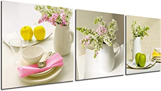 Kitchen Wall Art Canvas Flowers - Home Decor Floral Modern Painting Fruit Prints Dining Room Decoration Bouquet Vase Dish Pictures Pot Bowl Elegant Tableware Poster 3 Panel Still Life Artwork