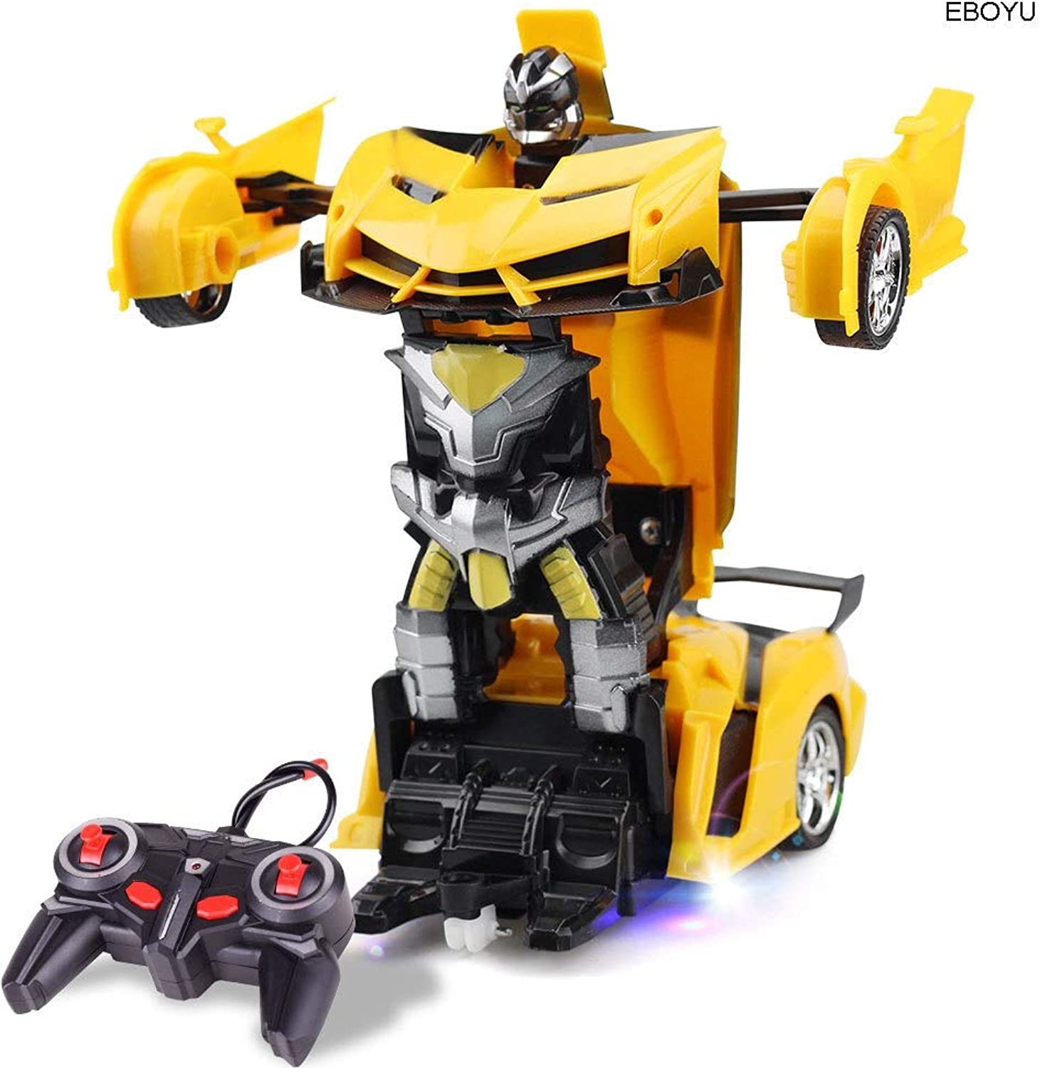 Generic EBOYU RC Transformer 2 in 1 RC Car Driving Sports Car Drive Transformation Robots Models Remote Control Car RC Fighting Toy Gift Yellow