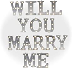 DELICORE Light Up Will You Marry Me Sign with Warm White LEDs - Proposal Sign - Wedding Sign - Engagement Sign - Romantic Proposal - 4.21