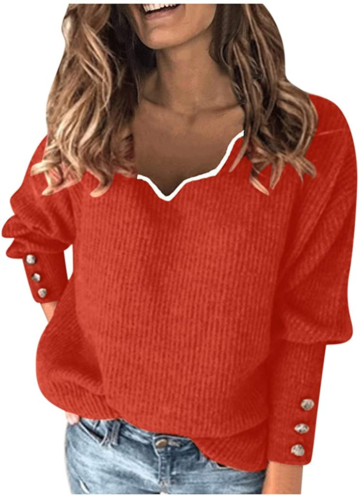 Womens Pullover Sweaters Sexy,Deep V Neck Long Sleeve Wrap Sweaters Casual Loose Crochet Knit Pullover Tops Shirts