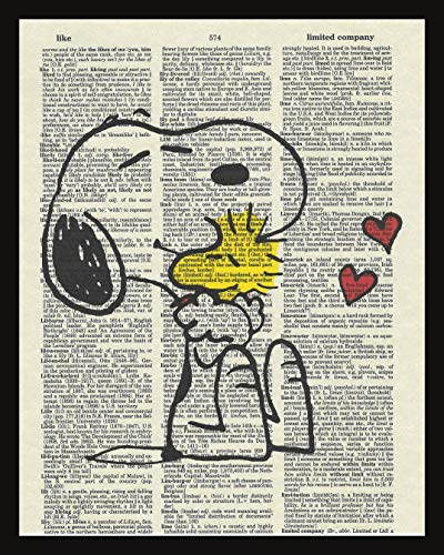Snoopy Children's Peanut's Cartoon Dictionary Book Page Artwork Print Picture Poster Home Office Bedroom Nursery Kitchen Wall Decor - unframed