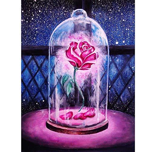 Pintar por Numeros para Adultos y Niños, Rosas en una botella DIY Pintura por Números con Pinceles y Pinturas Decoraciones para 40 x 50 cm Sin Marco