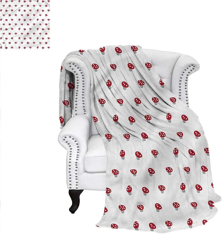 Mushroom Throw Blanket Dotted Retro Simple Weave PatternBlanket 60 x50
