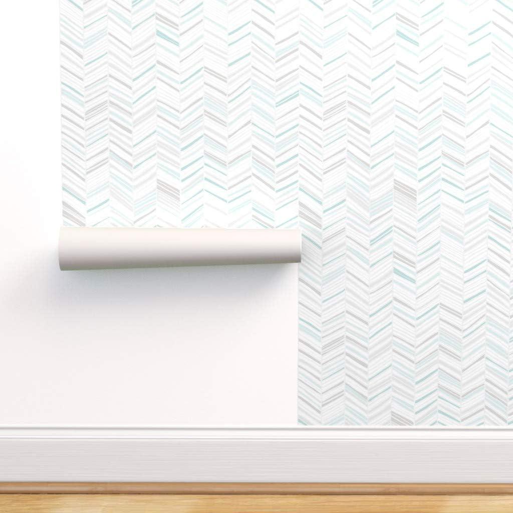 好評 Spoonflower Peel and Stick Removable Chevron 有名な Modern H Wallpaper