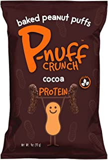 Pnuff Crunch - Healthy Vegan Snacks, Gluten Free with Plant-based Protein, Crunchy Baked Peanut Protein Puffs + Cocoa Party Pack - 4 ounce, Pack of 15