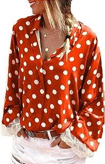 Gocgt Womens V Neck Button Down Shirts Long Sleeve Polka Dot Blouse Top
