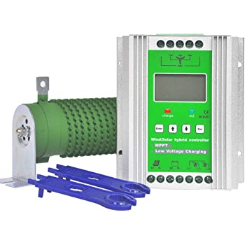 Pikasola 1400W 12/24v Battery Off Grid Controller Wind Turbine Solar Hybrid MPPT Charge Boost Controller with Unloader Suitable for 800w Wind Generator 600w Solar Panel System Controller