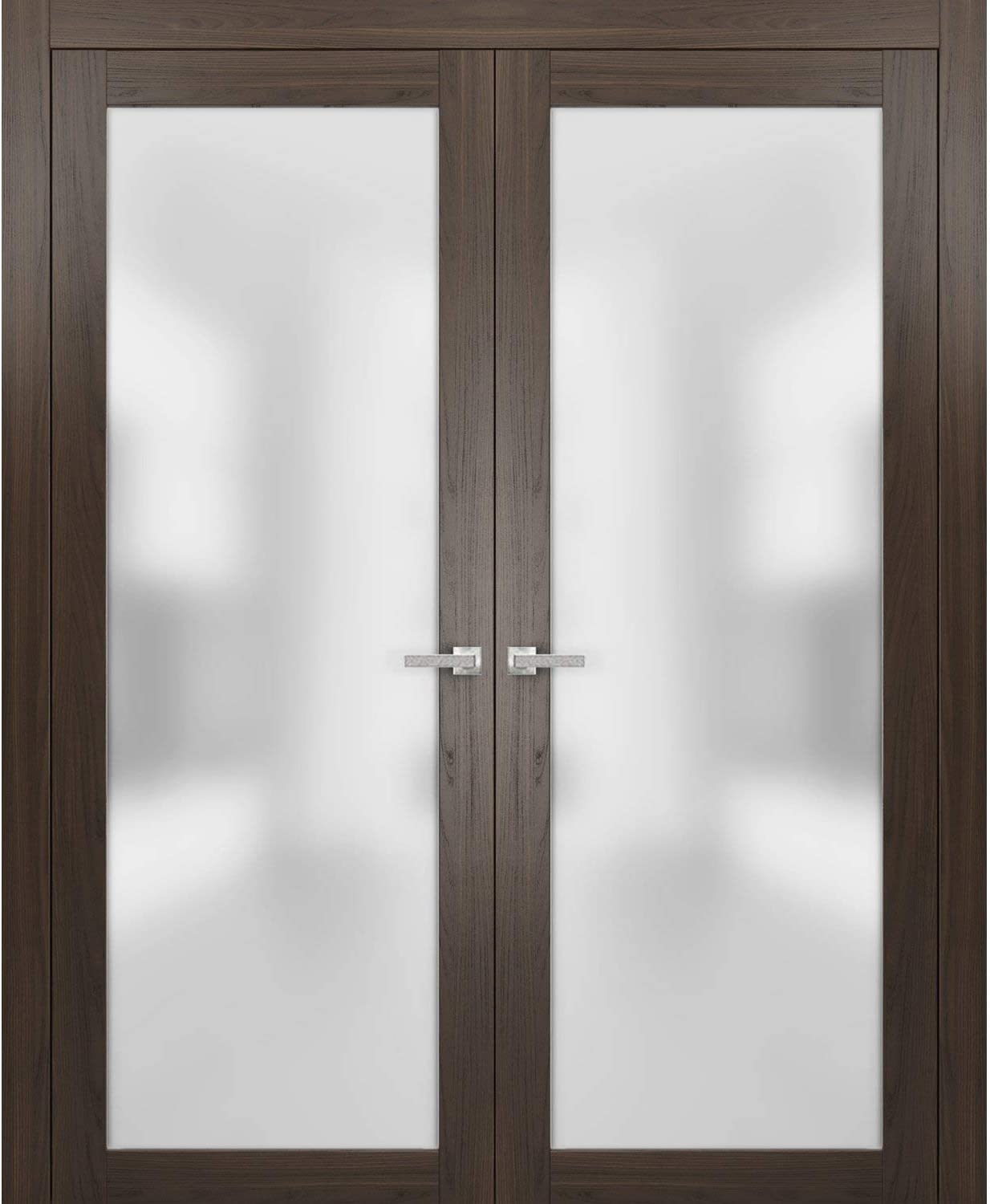 French Lite Frosted Glass Doors 36 x 80 Bedroom Hall Solid Core Wooden Panels Frames Trims Satin Nickel Hardware Planum 2102 Chocolate Ash
