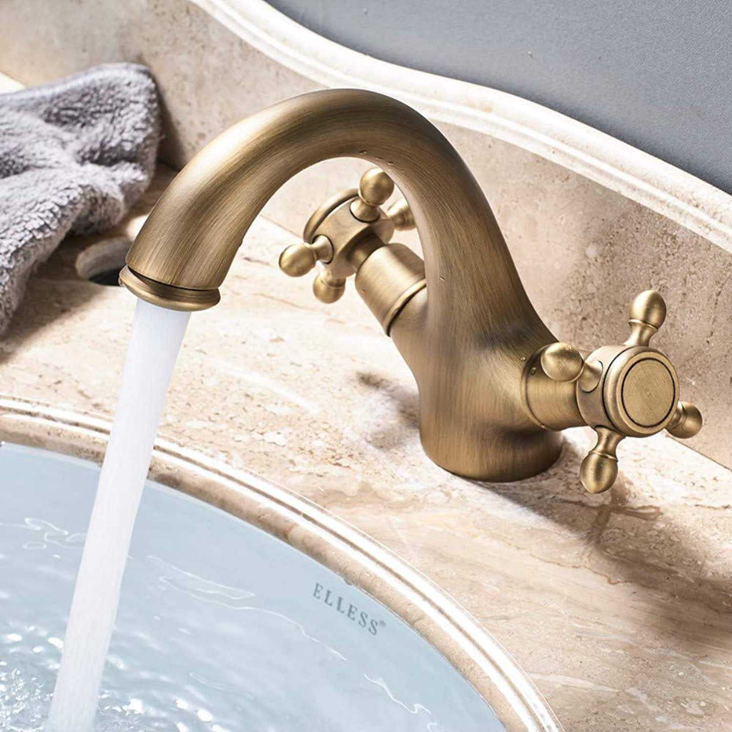Bathroom Sink Tap Dual Handle Basin Faucet Single Hole Deck Mounted Brass Bathroom Vanity Sink Mixers Hot and Cold Tap