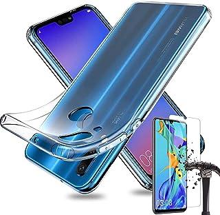 Huawei P20 lite ケース 強化ガラスフィルム付き 9H硬度 保護フィルム クリア 軽量 TPU カバー ストラップホール シリコン 保護 耐衝撃 ファーウェイ (クリア)