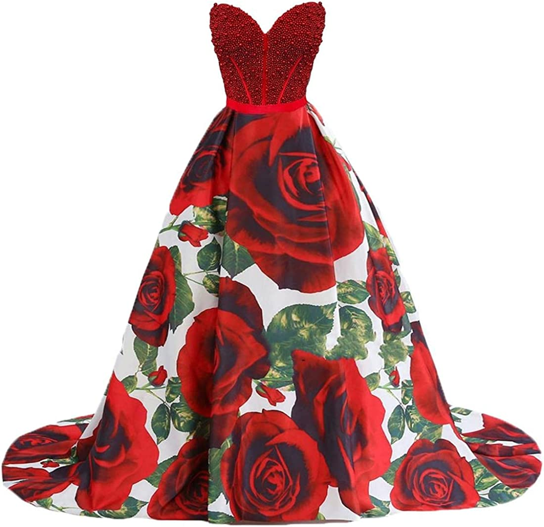 New popularity Dydsz Women's Floral Print Evening Poc favorite for with Weddings Dresses