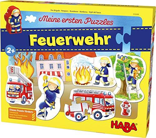HABA 303698 - Meine ersten Puzzles – Feuerwehr | Kinderpuzzle mit 5 spannenden Feuerwehrmotiven ab 2 Jahren | Mit Feuerwehrmannholzfigur zum freien Spielen