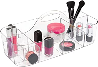 mDesign Plastic Portable Makeup Organizer Caddy Tote, Divided Basket Bin with Handle, for Bathroom Storage - Holds Blush Makeup Brushes, Eyeshadow Palette, Lipstick - Extra Large - Clear