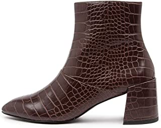 THERAPY Alloy Choc Croc Smooth Womens Shoes Block Heel Boots Ankle Boots