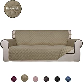 PureFit Reversible Quilted Sofa Cover, Water Resistant Slipcover Furniture Protector, Washable Couch Cover with Non Slip Foam and Elastic Straps for Kids, Pets (Oversized Sofa, Beige/Beige)