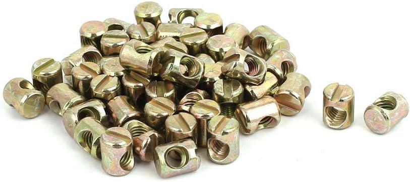 uxcell M5x10mm Yellow Zinc Plated Slotted Barrel Cross Nut Dowel Max Popular standard 56% OFF