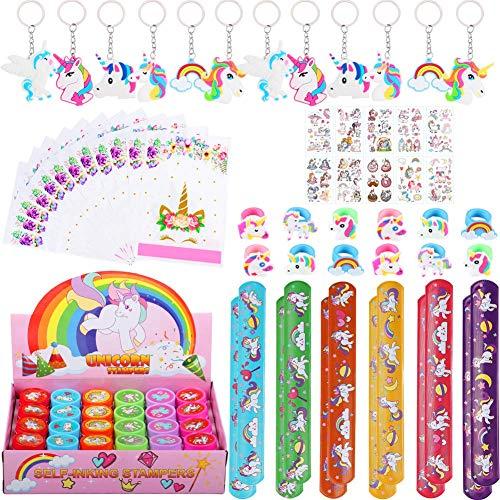 82 Piezas Artículos de Fiesta Unicornio Cumpleaños Niños, Llavero Unicornio Bolsa de Fiesta Pulseras Bofetada Tatuajes Temporales Sellos Unicornio Anillo Unicornio, Piñata Unicornio Regalo Niña